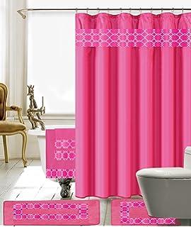 Exceptionnel 18 Piece Embroidery Banded Shower Curtain Bath Set 1 Bath Mat 1 Contour 1 Shower  Curtain