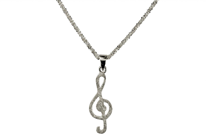 SILBERMOOS Anhänger mit Kette Violin-Schlüssel Musik gebürstet mit Criss-Cross-Kette 45 cm diamantiert 1, 4 mm 925 Sterling Silber SM672