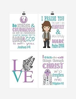 Star Wars Inspirational Nursery Decor Set of 4 Prints - Jyn, R2D2, Love - Multiple Sizes