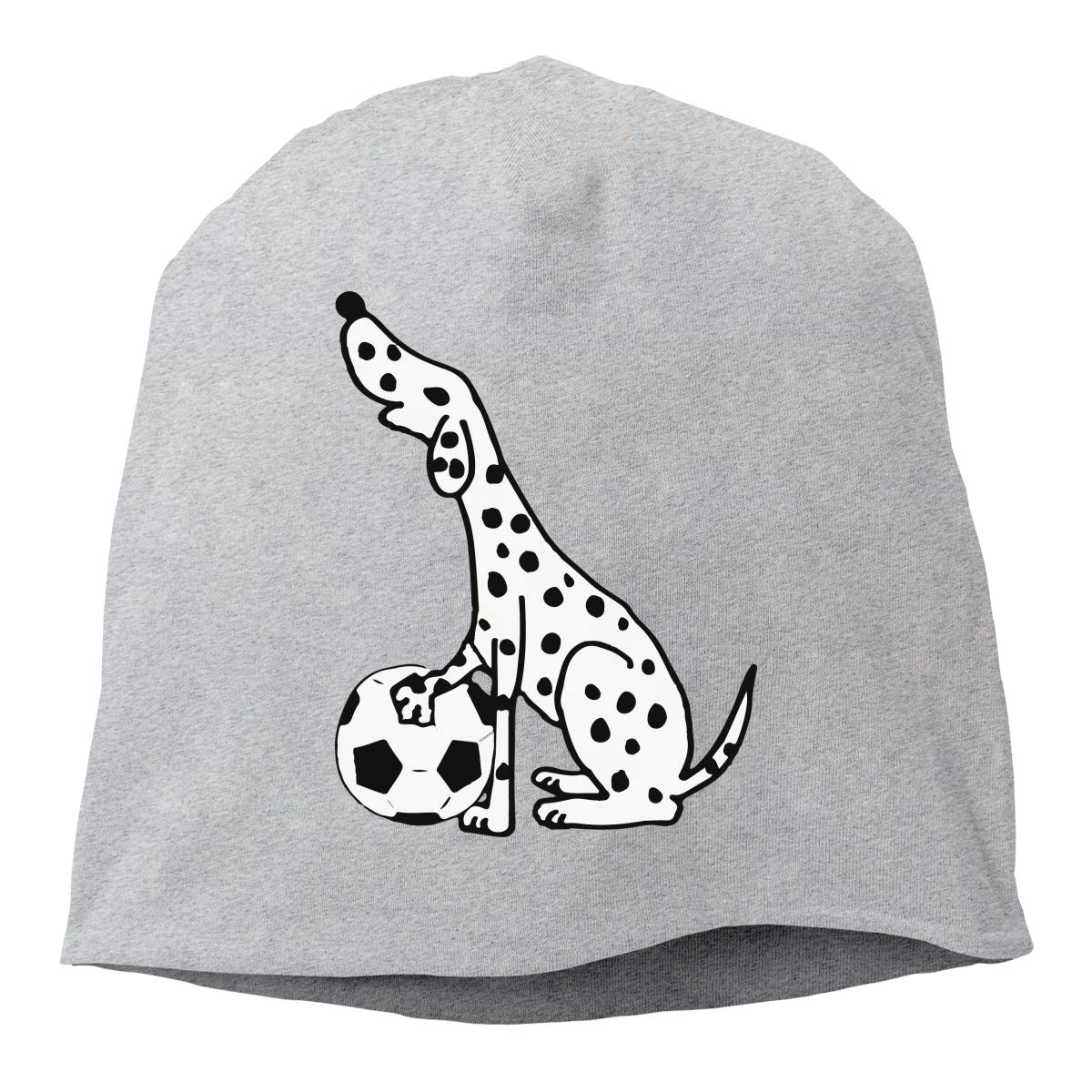 TLPM9LKMBM Dalmatian Dog Playing Soccer Beanie Skull Cap for Women and Men Winter Warm Daily Hat