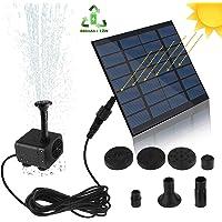 Botee - Bomba solar para fuente de agua, 1,2 W, 180 l/h, portátil, flotante y solar, para jardín, piscina, estanque, acuario, fuente, con 4 boquillas, Negro y azul.