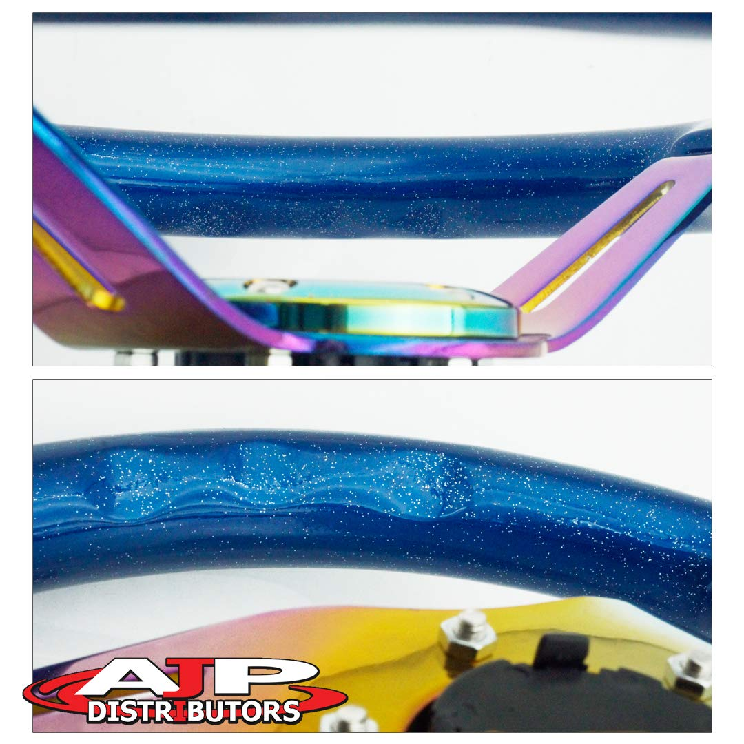 Metallic Gunmetal AJP Distributor Universal 345mm 6 Bolt Hole Deep Dish Streak Style Neo Chrome Center Wood Grain Trim Handle Steering Wheel Blank Horn Button JDM Euro VIP Racing Track Drift Drag