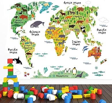 Wandsticker4u Wandtattoo Weltkarte Kinder I Wandbilder 100x80 Cm I Wandaufkleber Landkarte Bunt Tiere Kontinente Ozean World Map Atlas Geographie Erdkunde I Deko Fur Kinderzimmer Jungenzimmer Gross Amazon De Baumarkt