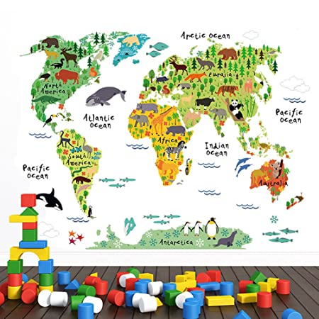 World map wall sticker wall sticker4u with many cute animals world map wall sticker wall sticker4u with many cute animals 100x80cm world map gumiabroncs Image collections