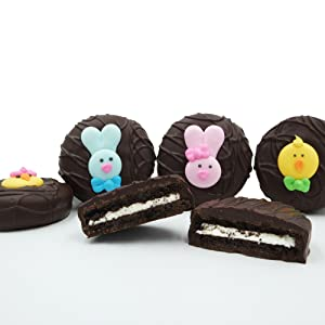Philadelphia Candies Dark Chocolate Covered OREO® Cookies, Easter Faces Assortment 8 Ounce