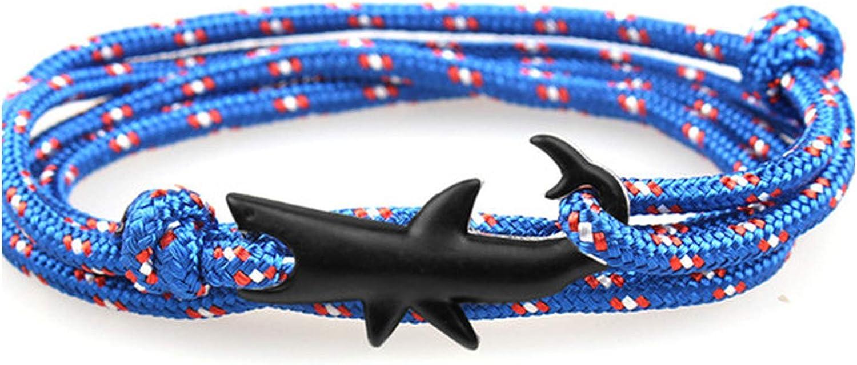 New Adjustable Fashion Anchor Bracelet Men and Woman Charm Survival Chain Sport Paracord Lovers Bracelets Black Shark