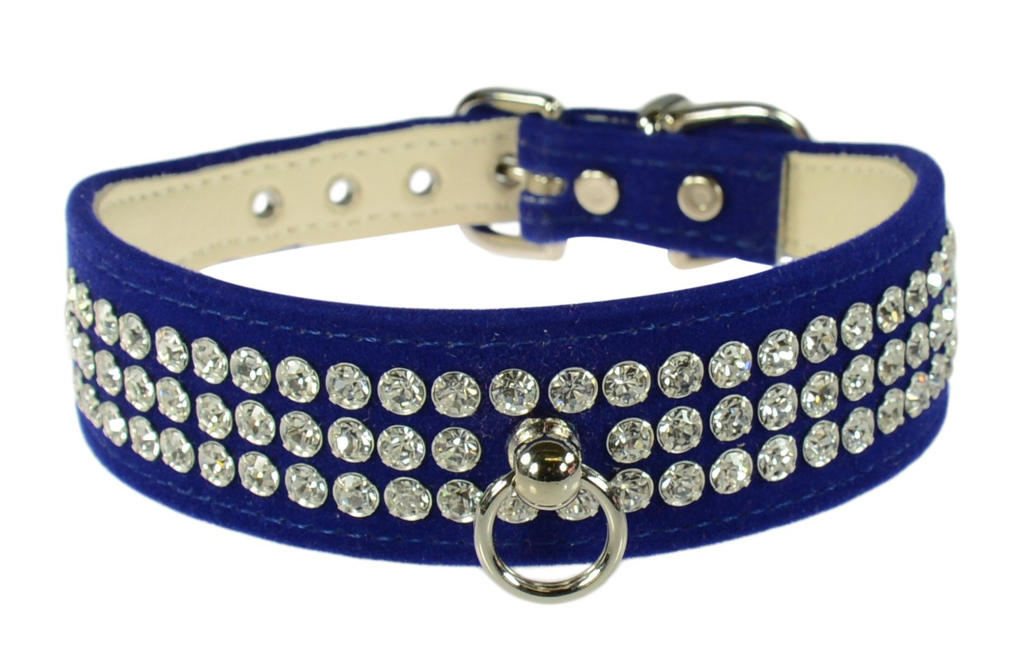 Evans Collars 1 1 8  Shaped Collar with 3 Row Jewels, Size 12, Velvet, bluee