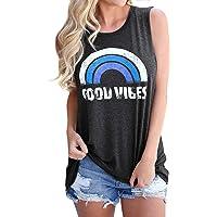 Hount Women's Loose Fit Tank Tops Good Vibes Rainbow Casual Summer Loose Sleeveless Blouse Shirt