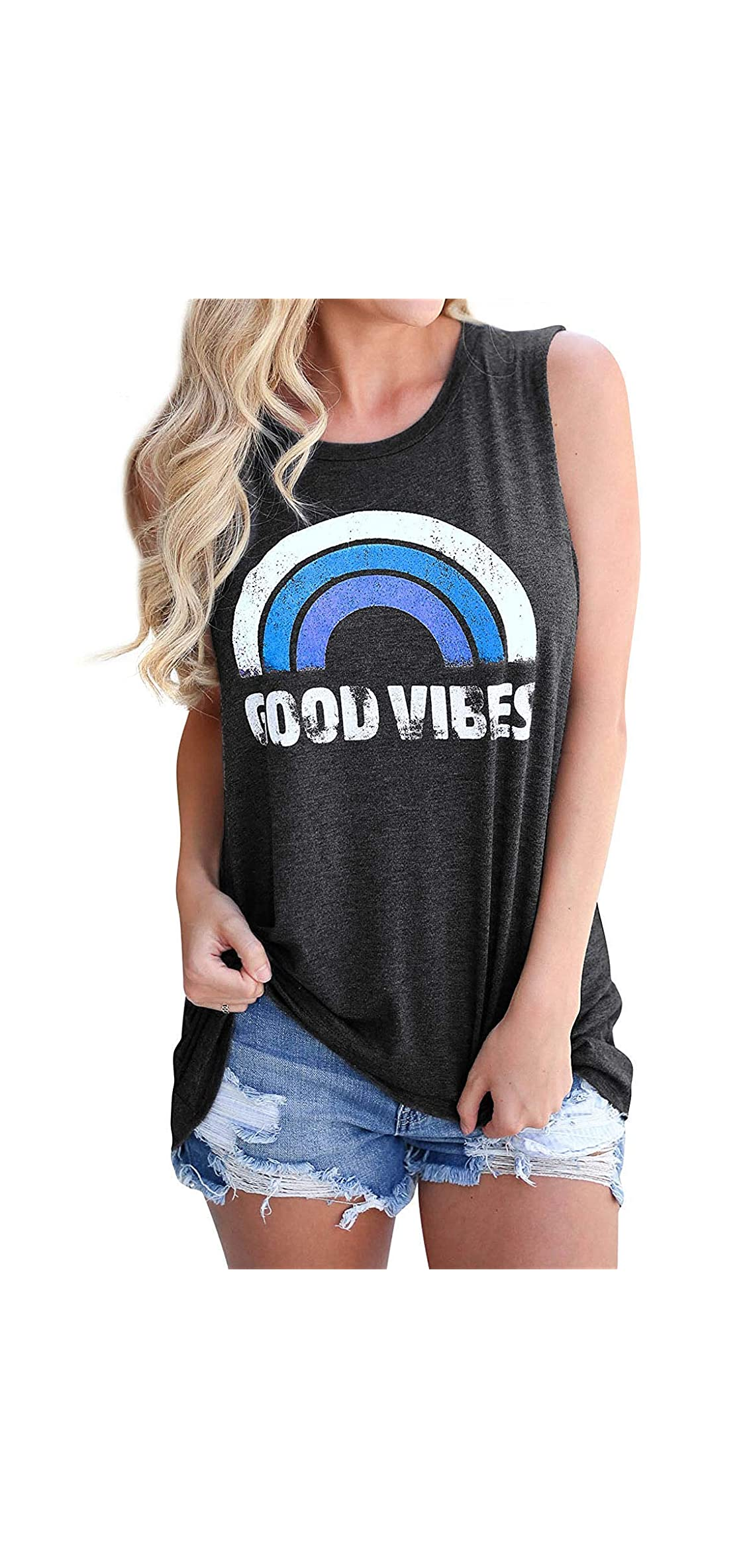 Women's Good Vibes Tank Tops Loose Fit Casual Sleeveless T