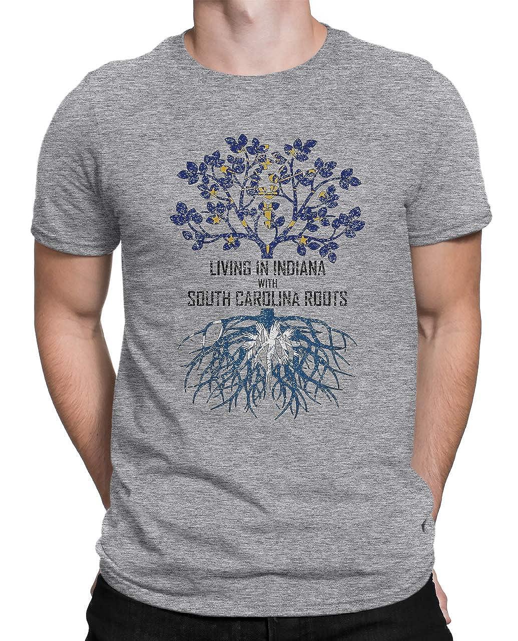 Tenacitee Mens Living in Indiana South Carolina Roots T-Shirt