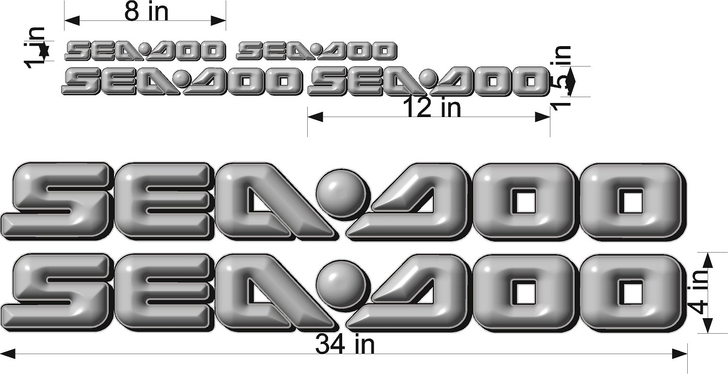 SEA-DOO-GRAY -3D-LOGO-4x34-DECAL-SET-GRAPHIC-STICKER-PACKAGE, REPLACEMENT