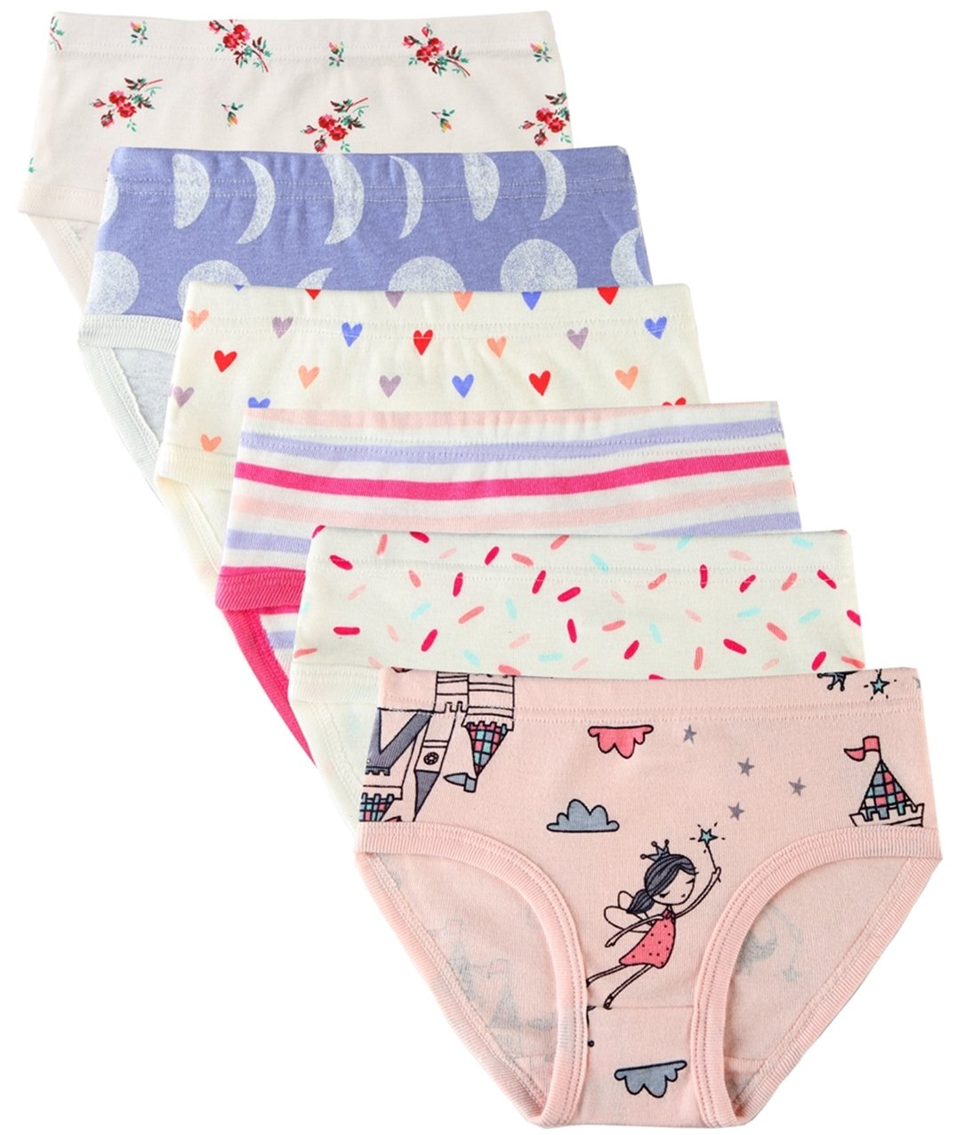 6 Pack Little Girl Underwear Cotton Fit Age 1-7, Baby Girls Panties Toddler Girl's Undies (Princess, 3-4 Years/Waist 16.5'',Height 38''-41'')