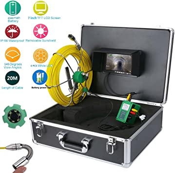 """7/"""" 20M 1000 TVL Drain Pipe Sewer Inspection Video Record Camera System"""
