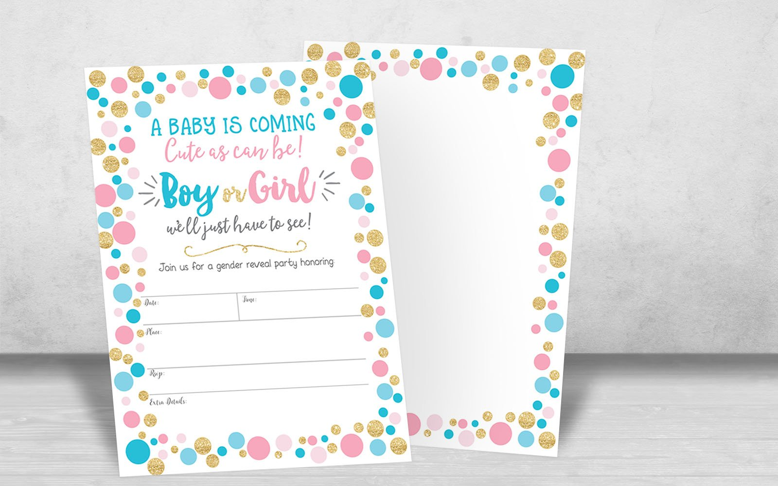 Gender Reveal Invitation, Gender Reveal Party Invite, Neutral Baby Shower Invitation, Boy Or Girl, He Or She, 20 Fill in Invitations and Envelopes by Your Main Event Prints (Image #4)