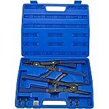 "Hiltex 02016 16"" Snap Ring Plier Set, 2 Piece   External and Internal Pliers   Straight, 45°, 90° Tips"