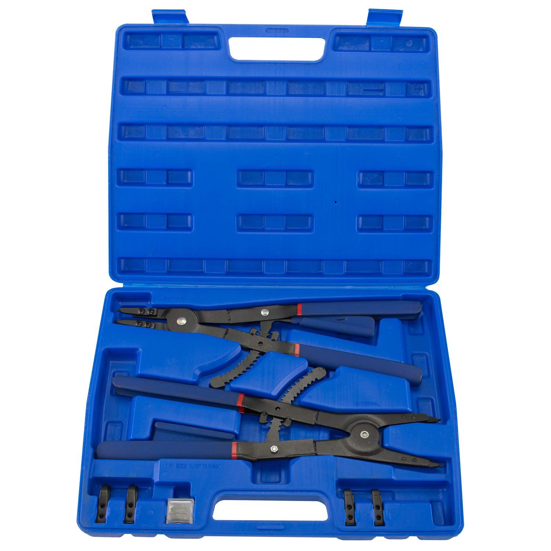 "Hiltex 02016 16"" Snap Ring Plier Set, 2 Piece | External and Internal Pliers | Straight, 45°, 90° Tips"