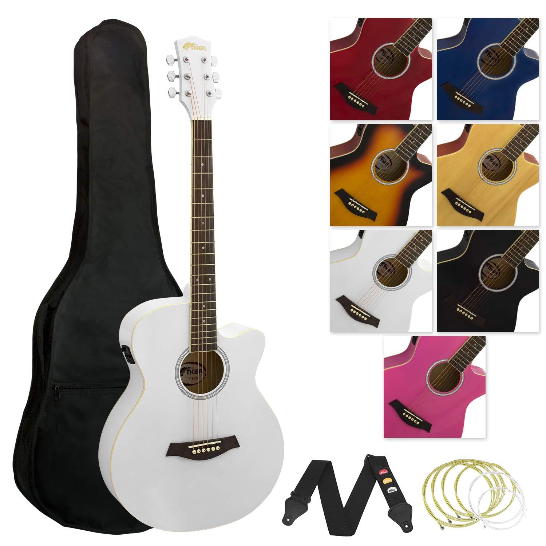 Tiger Jasmin ACG4-PK Elektro-Akustische Gitarre-Set - Rosa Tiger Music