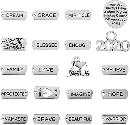 200Pcs Rectangle Charms Pendants Words Tag DIY Crafts Jewelry Making One Hole
