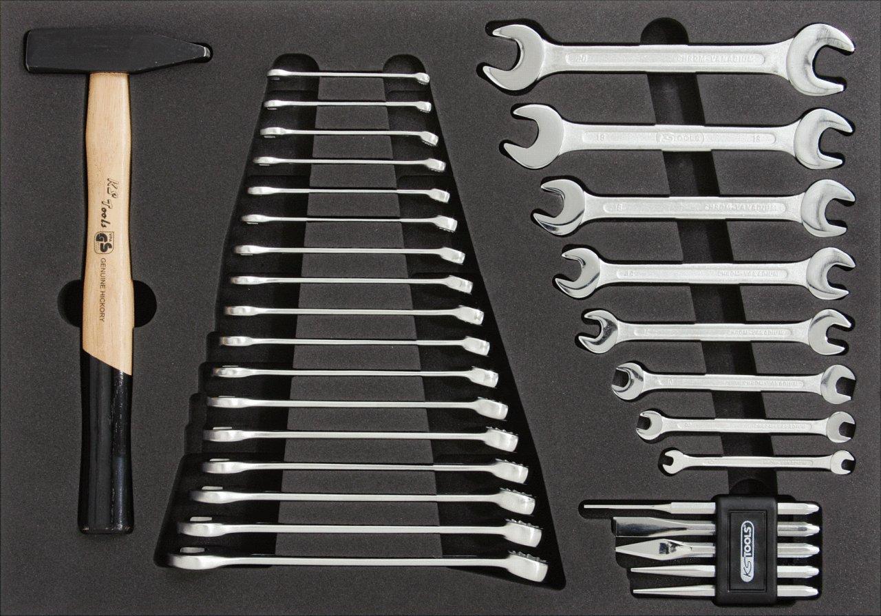 31-tlg metrisch in 1//1 Systemeinlage KS Tools 815.1120 CLASSIC Schl/üssel- und Hammer-Satz