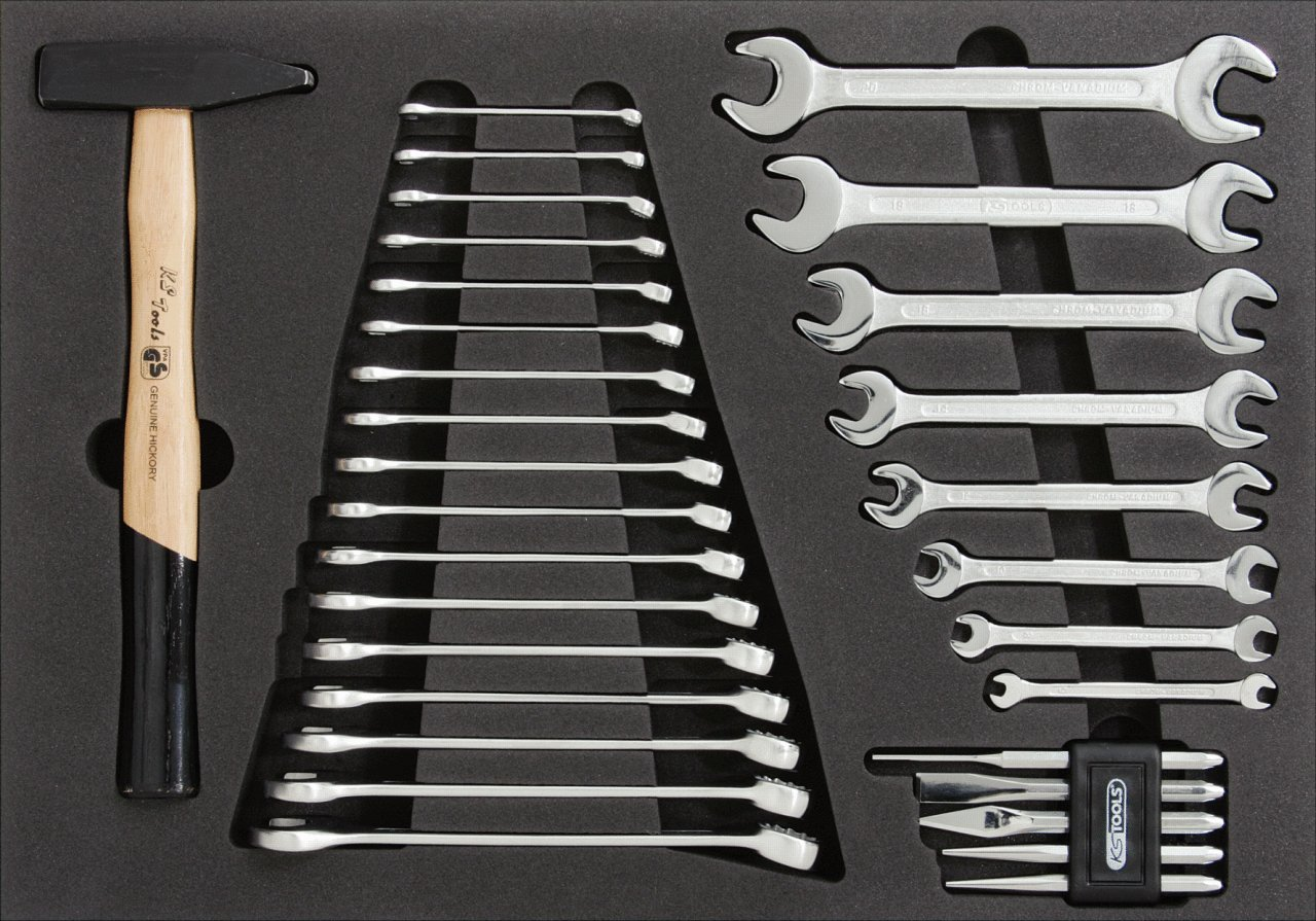 CLASSIC Spanner and hammer set, 31 pcs, 1/1 system insert