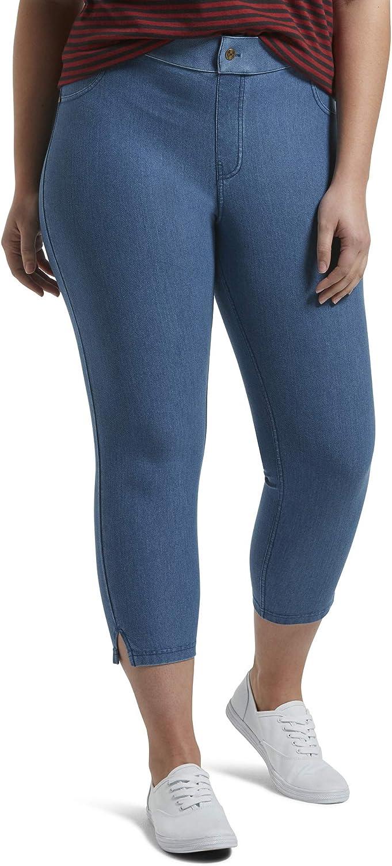 HUE Women's Ankle Slit Essential Denim Capri Legging