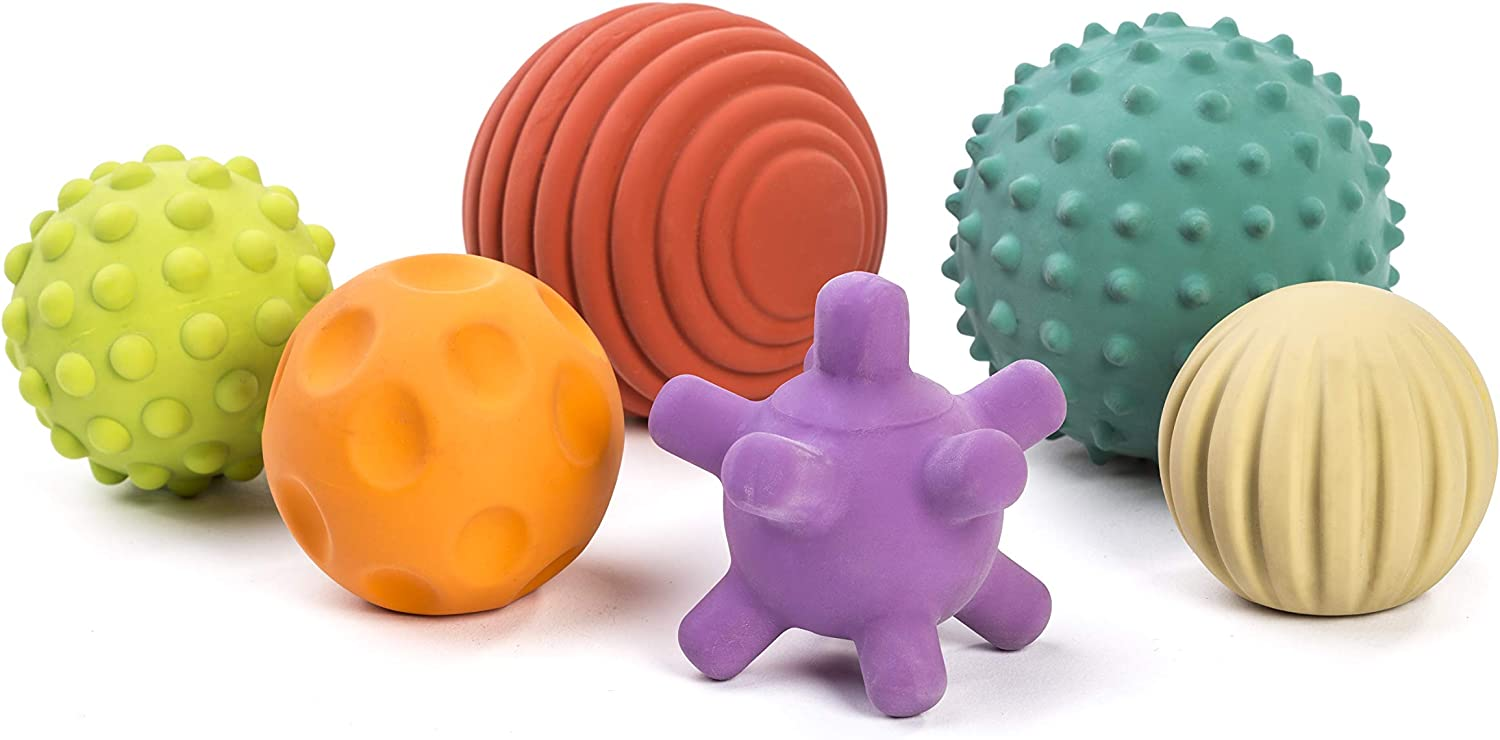 Easy Grip Play Natural Rubber Latex Miniland 6 Sensory Balls Soft Teething Toys Motor Skill Development Babies Birth to Toddlers Age 4 Textured Colors Multi-Sensory Stimulation