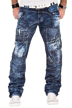 Kosmo Lupo Herren Jeans Denim Hose Japan Style Vintage Clubwear Chino Used  Blau Dunkelblau 9b337c5522