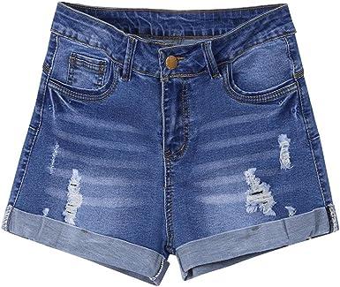 ALIKEEY ❤️Short en Denim pour Femme Shorts Jeans Troué Femme Taille Haute Pantalons Denim Ete de Plage Décontracté Élasticité Jeans Shorts Femmes