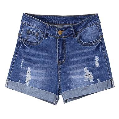 2a01ee29e0 ALIKEEY ❤️Short en Denim pour Femme Shorts Jeans Troué Femme Taille Haute  Pantalons Denim Ete