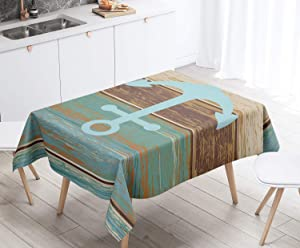 M maoav Anchor Tablecloth, Weathered Wooden Planks Rustic Nautical Theme Table Cloth Vertical Striped Rectangular Cloth Fabric Table Cover for Outdoor Picnic Dining Room Kitchen Decor