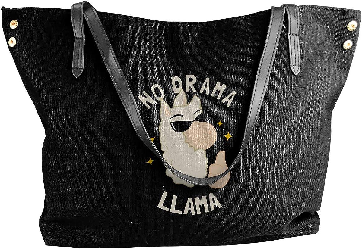No Drama Llama Womens Canvas Hobo Handbags Shoulder Bag Tote Bag