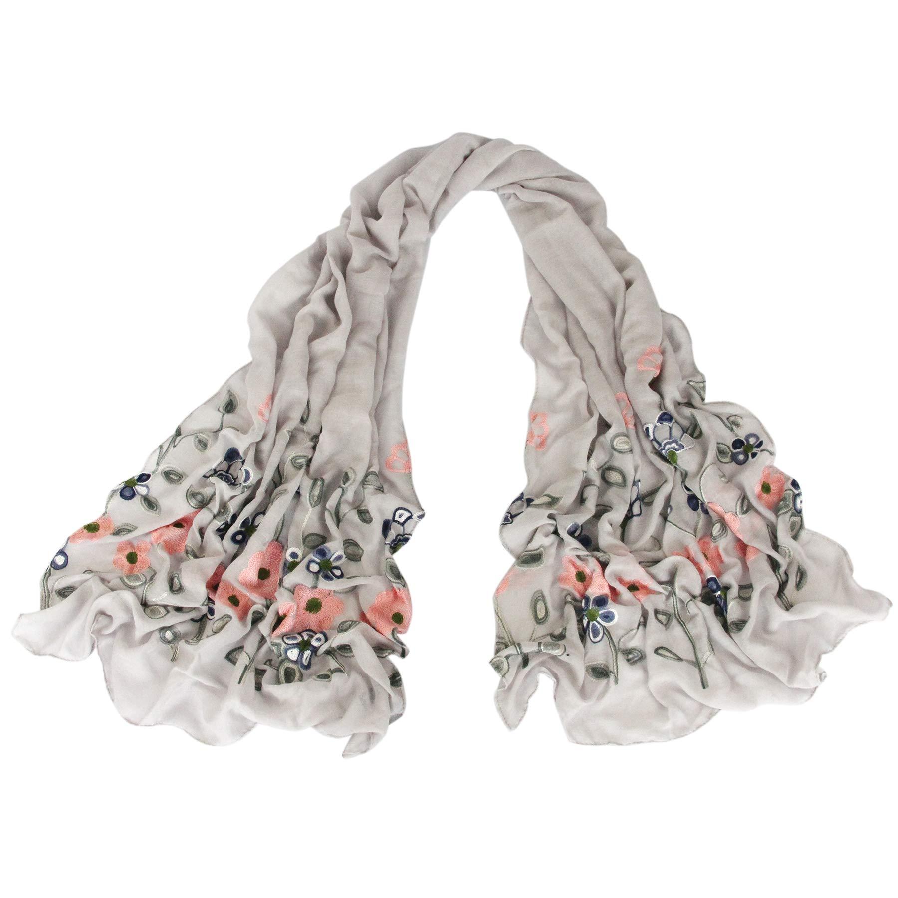 Women Lightweight Long Scarf - Grey Embroidery Soft Light Thin For Spring Summer Flower Wrap (Grey 185)