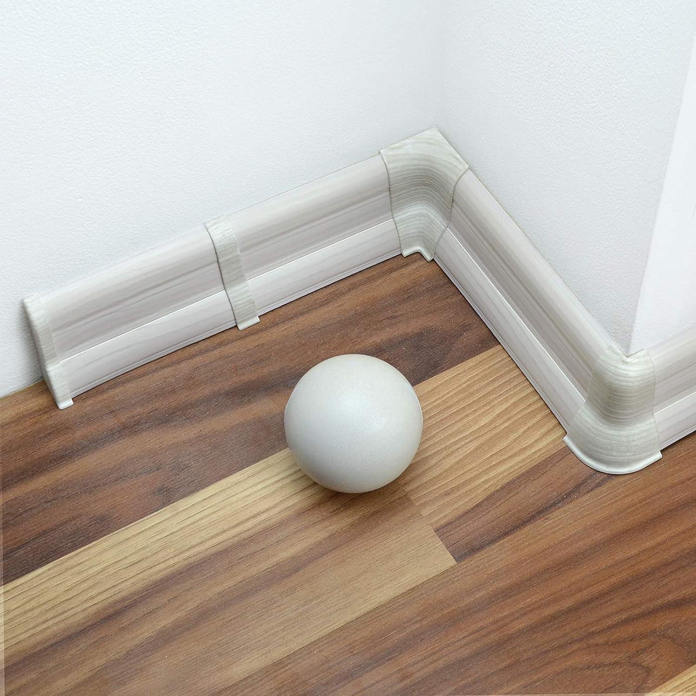 DQ-PP Endst/ück links 62mm PVC Eiche Vintage Laminatleisten Fussleisten aus Kunststoff PVC Laminat Dekore Fu/ßleisten