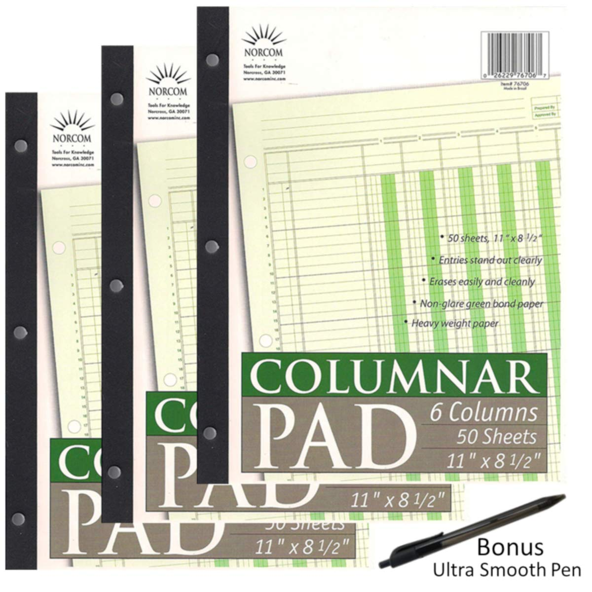 Norcom Columnar Pad, 6 Columns, Made in The USA, 11 x 8.5 Inches, 50 Sheets Per Pad (76706-10) Pack of 3 Plus 1 Ultra Smooth Pen by JustWritin''