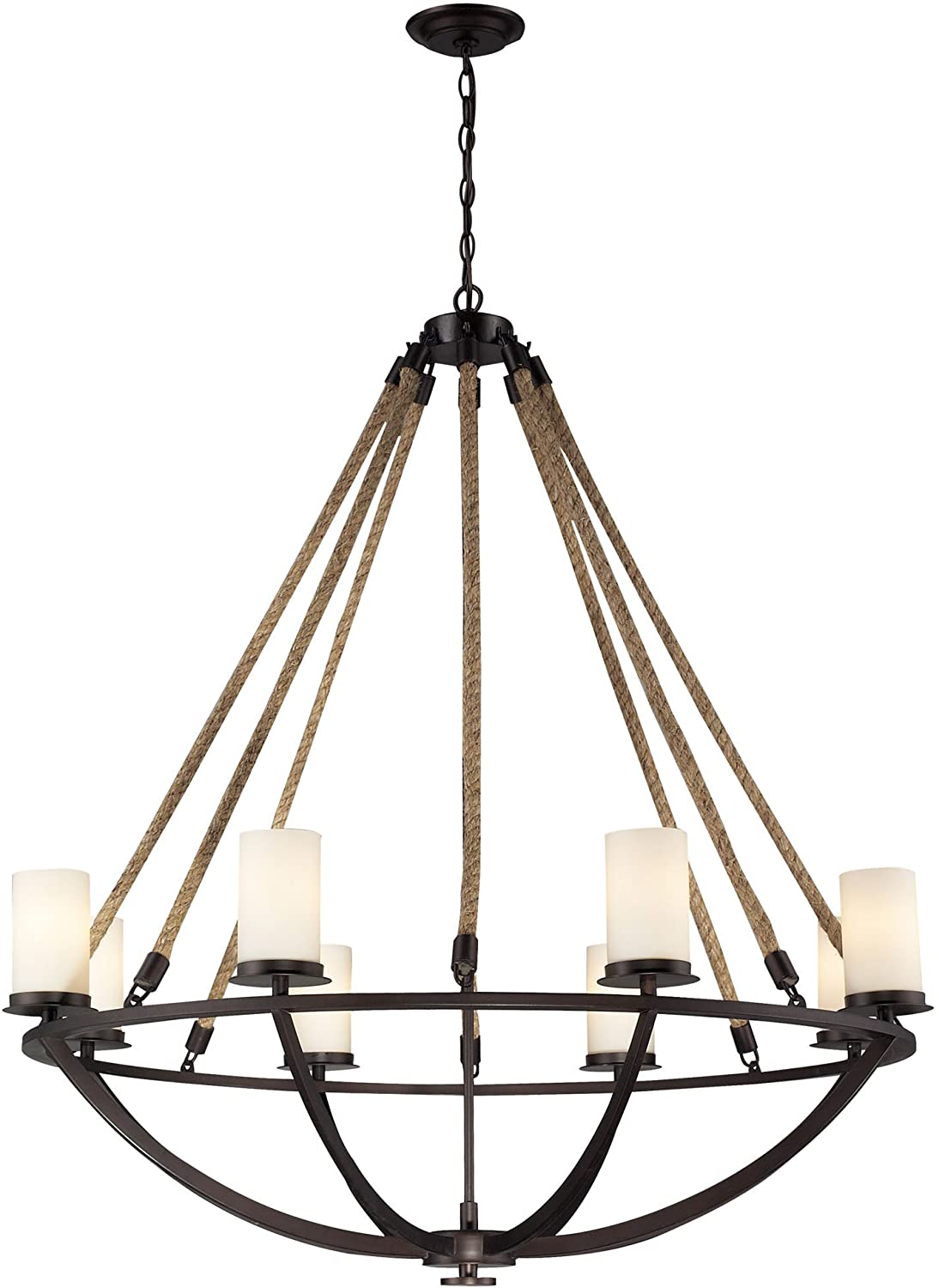 elk natural rope 8light chandelier 41 by 44inch aged bronze finish amazoncom