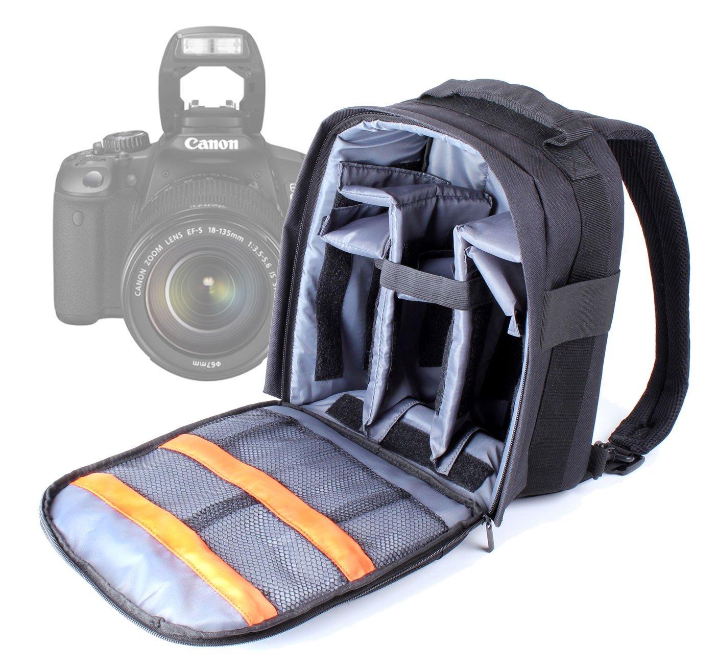 DURAGADGET DSLR Camera Backpack / Rucksack with Adjustable Padded Interior for Canon EOS 350D Digital SLR Camera (18-55mm Lens Kit)