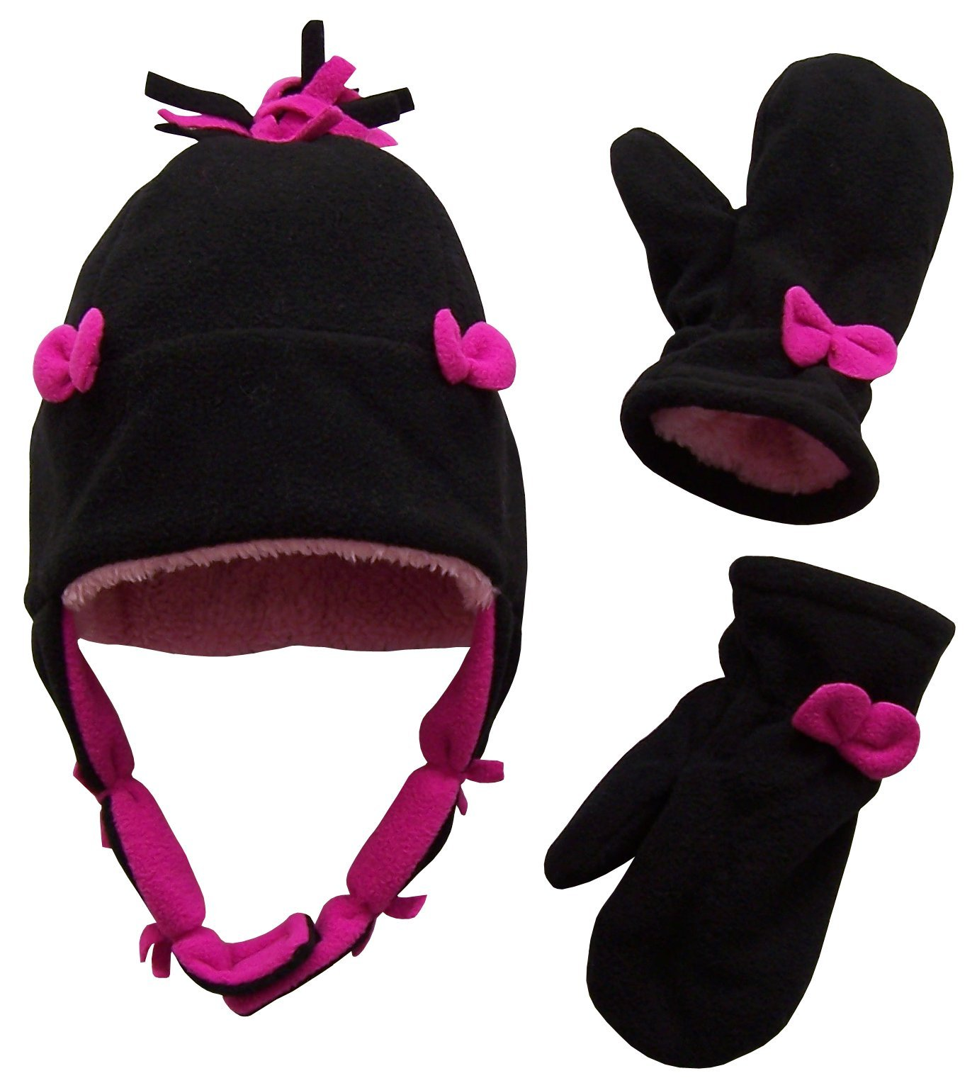 N'Ice Caps Girls Sherpa Lined Hat And Mitten Set With Bows (Toddler 2-3yrs, Black/neon pink)