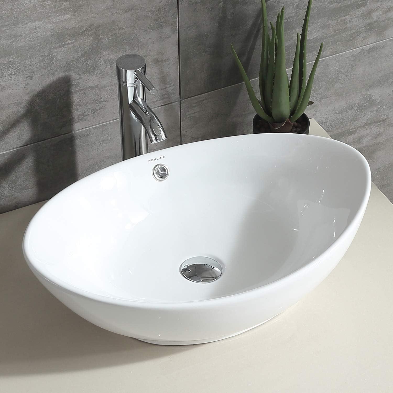 Sliverylake Bathroom Ellipse Porcelain Vessel Sink White Ceramic Sink Basin Chrome Drain Faucet Combo