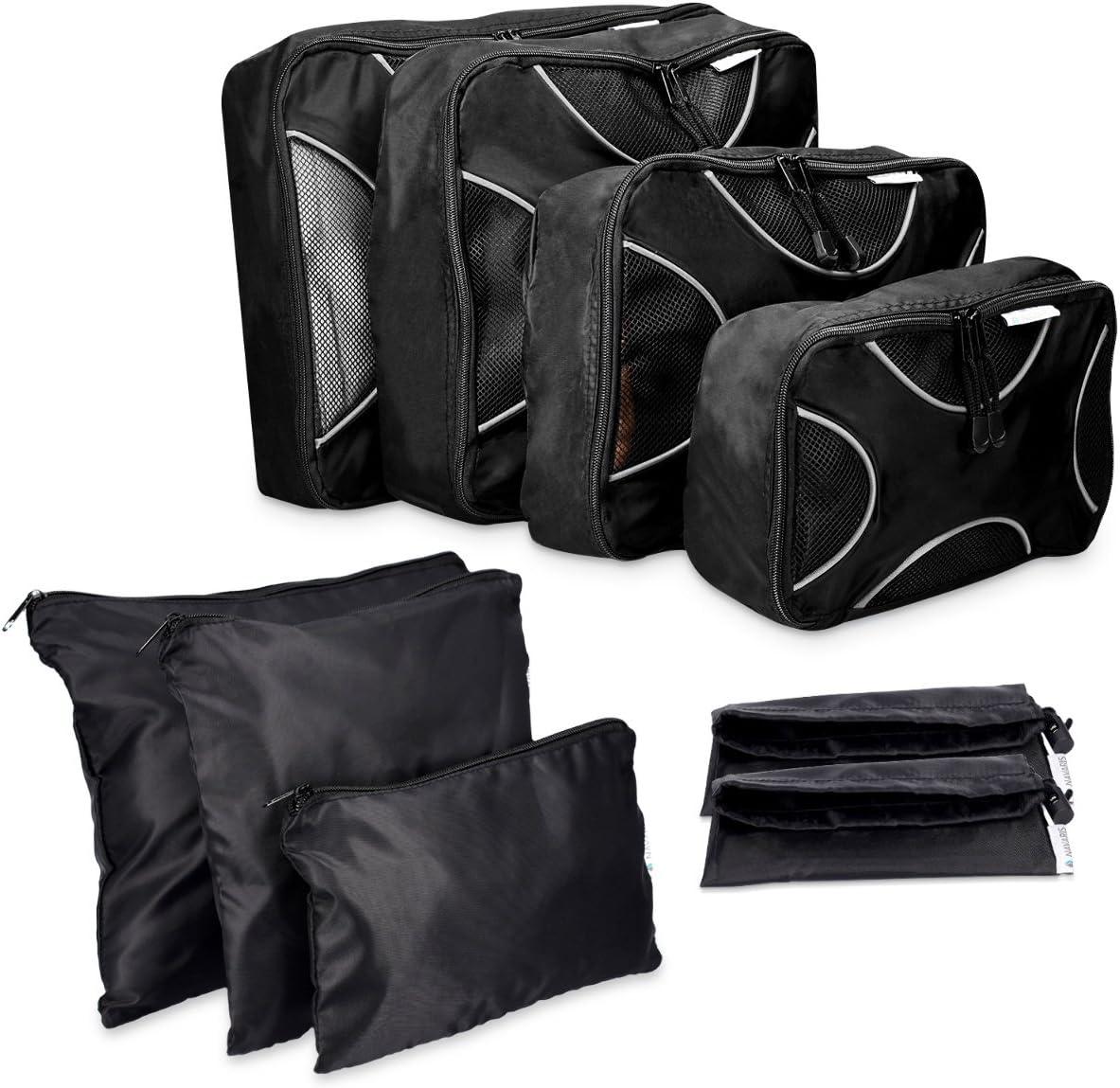 Navaris Set de 9 organizadores de Maleta - 4X Bolsas de Viaje para Ropa Zapatos - Organizador de Equipaje de Nylon - Packing Cubes Blanco y Negro