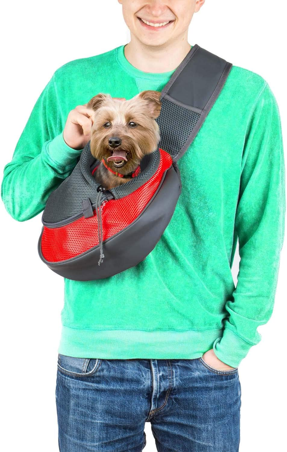 Dog Sling Unadjustable PETLOFT Reversible Pet Sling Carrier Hands-Free Cross-Body Carrier with Collar Hook for Dog//Cat//Bunny up to 11lb Small Dog Carrier