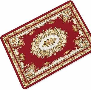 سجادة باب مطاطية مطبوع عليها مستطيلة الشكل بنمط الفارسي غير قابل للانزلاق باللون الأحمر لغرفة النوم وغرفة المعيشة والمطبخ ومنطقة البساط