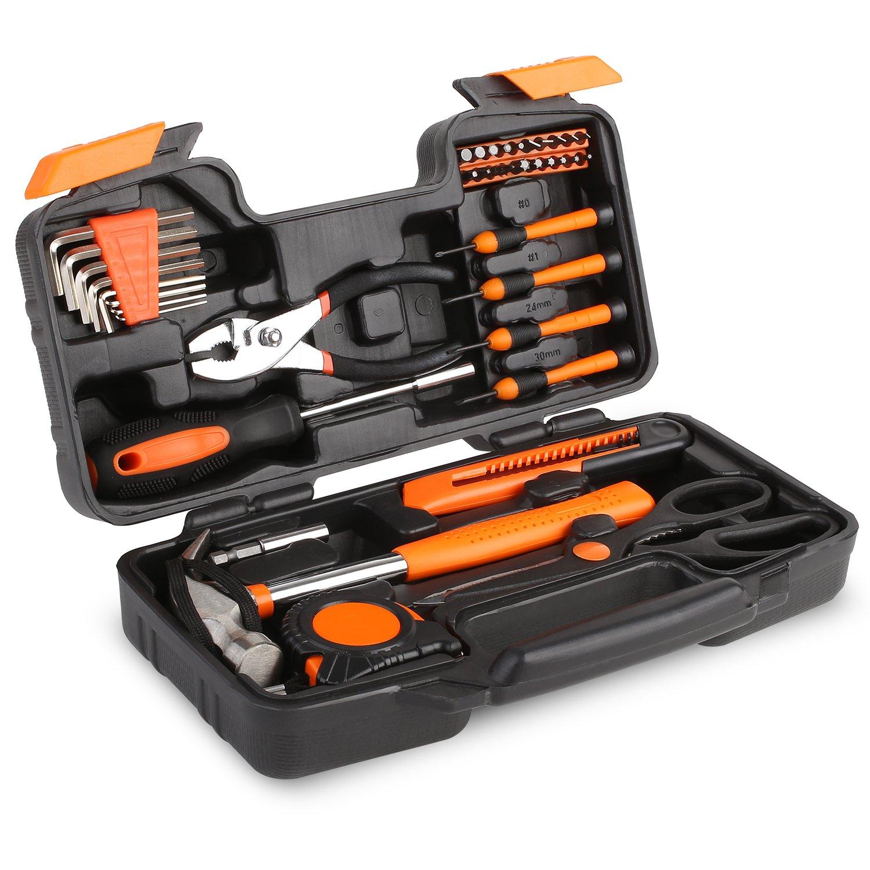 FIXKIT Werkzeugset im Koffer Werkzeugkoffer Werkzeugkasten f¡ § 1r den Haushaltsbereich Universal-Haushalts-Werkzeugkoffer (39 teilig)