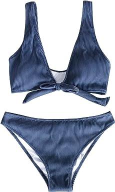 ed2a6a02125 CUPSHE Women's Deep Love Solid Blue Bikini Set Tie Front Beach Swimwear
