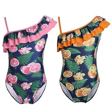 iiniim Une Pièce Bikini Maillots de Bain Une épaule Nager Mer Bébé Fille  Été Citron Imprimé eb0bb10d057