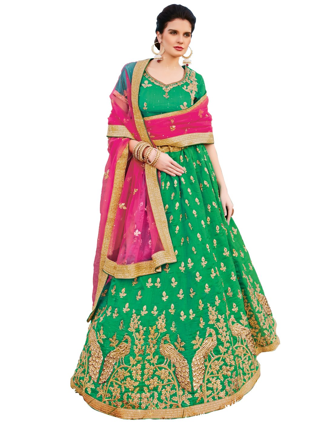 DesiButik's Wedding Wear Ravishing Rama Banarasi Silk Lehenga