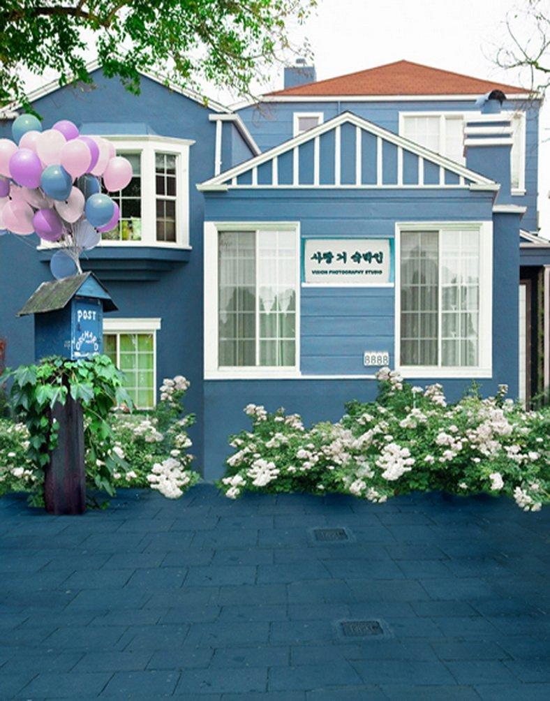 ブルー家halloon花写真の背景幕写真小道具Studio背景5 x 7ft   B01GT9F4AG