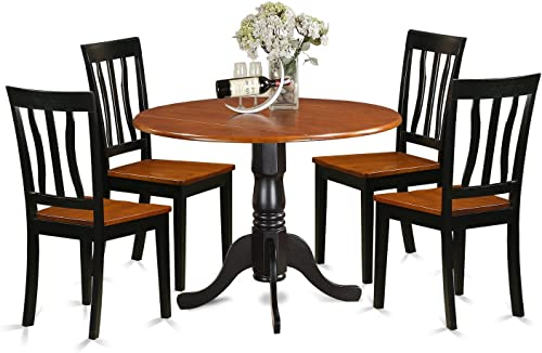 DLAN5-BCH-W Dining set – 5 Pcs with 4 Wood Chairs