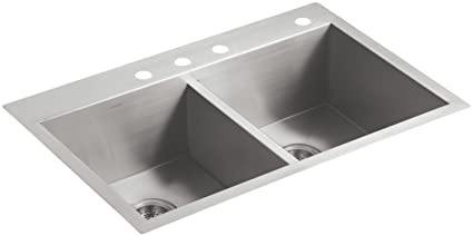 Kohler Vault Stainless Steel 33 Double Bowl Kitchen Sink With Four