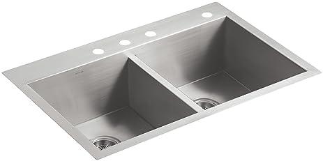 KOHLER K 3820 4 NA Vault Double Equal Kitchen Sink With Four