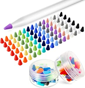 Weewooday 96 Pieces Silicone Nibs Caps Compatible with Apple Pencil 1st and 2nd Generation, Pencil Tip Cover Anti-Slip Protective Cover Noiseless Drawing Writing, 16 Colors